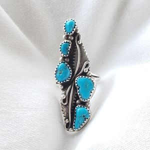 Vintage Navajo Turquoise Cluster Ring